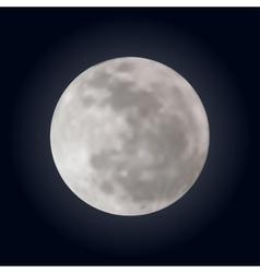 realistic shining full moon in dark blue sky vector image
