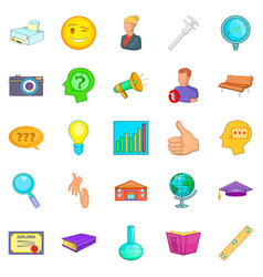 Research project icons set cartoon style vector