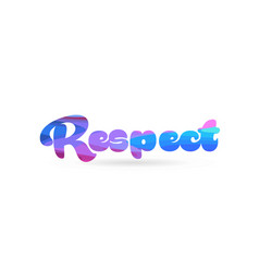 Respect pink blue color word text logo icon vector