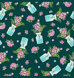 seamless pattern with a bouquet pink vector image