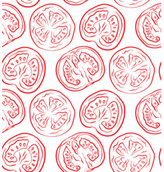 seamless pattern with tomatoes in a cut outline vector image
