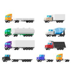 set trucks isolated on white vector image