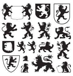 silhouettes heraldic lions vector image