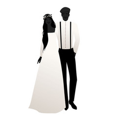 silhouettes wedding couple wearing bohemian or vector image