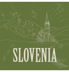 Slovenia landmarks Retro styled image vector