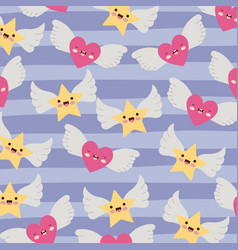 stars and hearts with wings pattern and lines vector image
