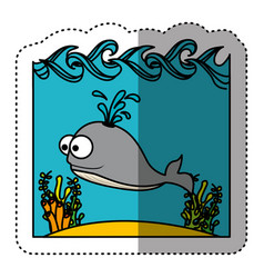 sticker colorful water landscape with whale animal vector image