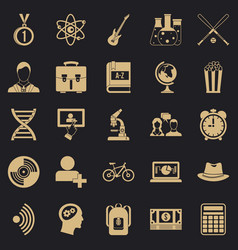student icons set simple style vector image