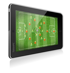 Tablet PC with Football Game vector image