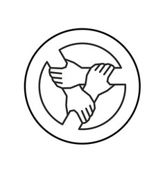 three hands together support each other outline vector image