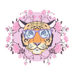 tiger wearing glasses with hearts st valentines vector image