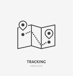 Tracking flat line icon map with location pins vector