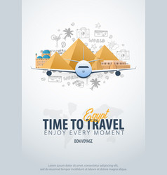 Travel to egypt time to travel banner with vector