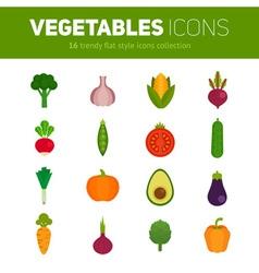 Trendy set of stylish flat vegetable icons vector image