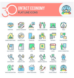 untact economy icons vector image