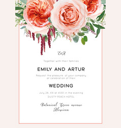 wedding invite card invitation coral blush peach vector image