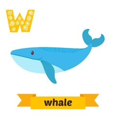 Whale W letter Cute children animal alphabet in vector image
