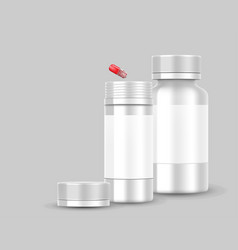 white blank bottle packaging with red pill capsule vector image