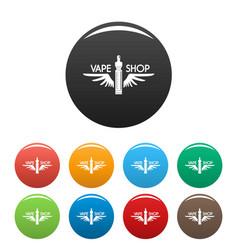 wings vape shop icons set color vector image