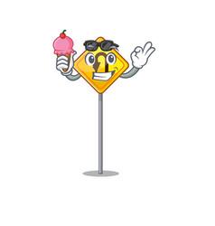 With ice cream u turn sign shaped cartoon vector