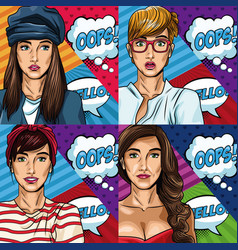 Womens with bubbles pop art vector