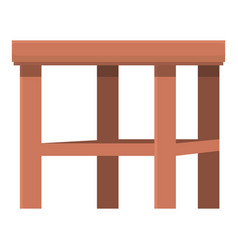 Wood backless chair icon cartoon outdoor vector