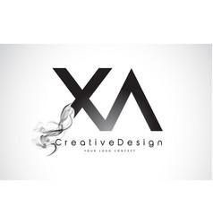 Xa letter logo design with black smoke vector