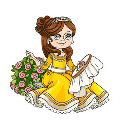 beautiful princess sitting on a bench near a bush vector image vector image
