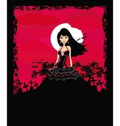 beautiful vampire girl in the moonlight vector image vector image