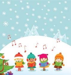 Caroler Kids vector image vector image