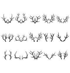 deer horns silhouettes vector image