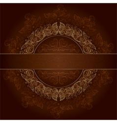 Floral gold frame with vintage patterns on brown vector image vector image