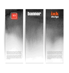 set of three banners black spots on the wet ink vector image