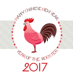 The Rooster On Circle Frame vector image vector image
