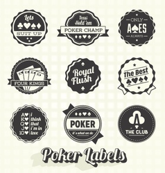 Vintage Poker Labels vector image