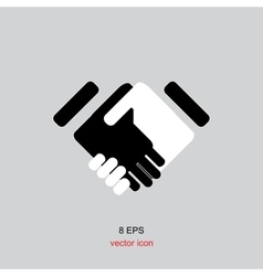 black icon handshake for business and finance vector image