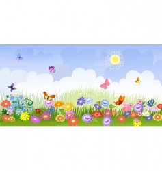 flower meadow panorama vector image vector image
