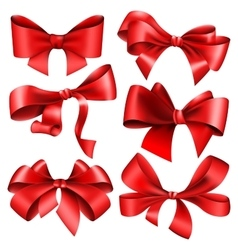 Set of 6 red bow vector image vector image