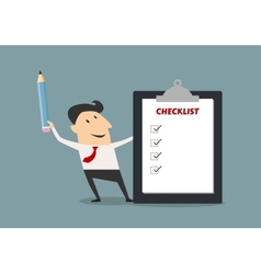Businessman holding checklist board and pencil vector image