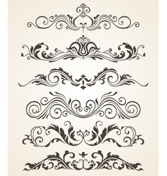 Collection of vintage style flourishes elements vector image vector image