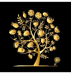 Golden tree with flowers for your design vector image vector image
