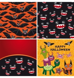 Happy Halloween set of two seamless patterns and vector image vector image