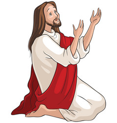 Jesus kneeling in prayer vector