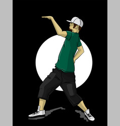 a guy in a green t-shirt and gray shorts dancing vector image