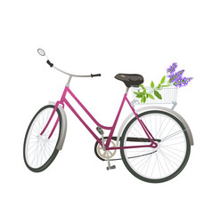 bicycle with flowers in basket vector image