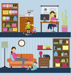 colorful motherhood horizontal banners vector image vector image