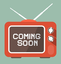 Flat Design Coming Soon Title on Retro TV Screen vector image vector image