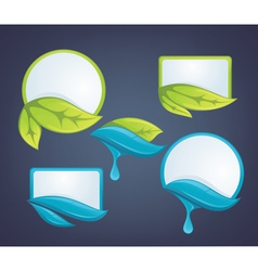 fresh leaves and water drops nature labels vector image vector image