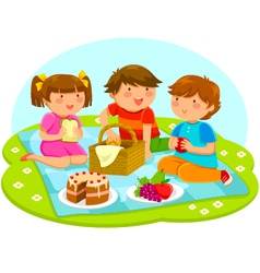 kids on a picnic vector image vector image