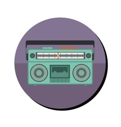 radio stereo with tape player in round frame vector image vector image